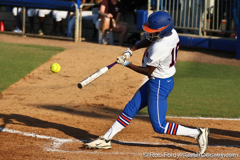 Florida junior center fielder Michelle Moultrie connects with the ball during the Gators' 8-0 win against the Bethune-Cookman Wildcats on Friday, May 20, 2011 at Katie Seashole Pressly Stadium in Gainesville, Fla. / photo by Rob Foldy