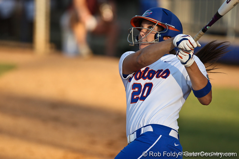 Florida sophomore Kelsey Horton watches the ball during the Gators' 8-0 win against the Bethune-Cookman Wildcats on Friday, May 20, 2011 at Katie Seashole Pressly Stadium in Gainesville, Fla. / photo by Rob Foldy
