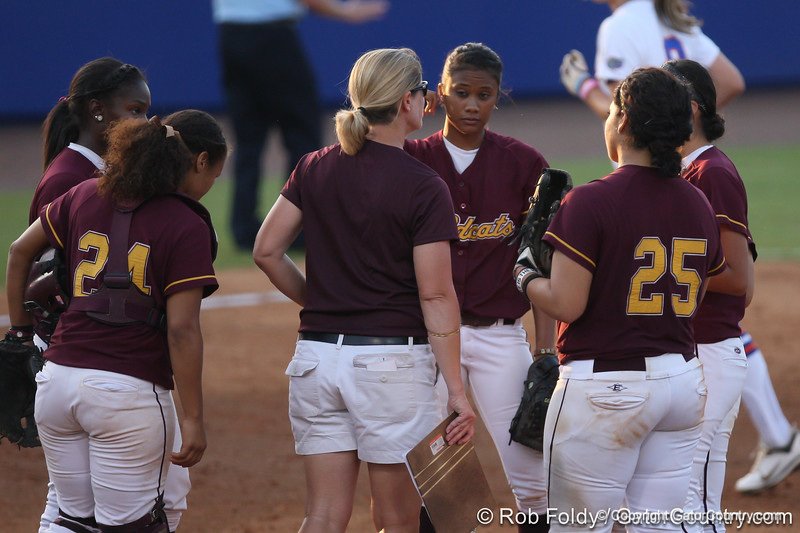 Bethune-Cookman head coach Chris Cochran changes pitchers during the Gators' 8-0 win against the Wildcats on Friday, May 20, 2011 at Katie Seashole Pressly Stadium in Gainesville, Fla. / photo by Rob Foldy