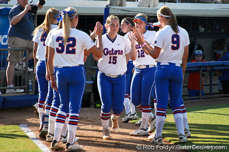 Florida sophomore Samantha Holle runs onto the field during introductions before the Gators' 8-0 win against the Bethune-Cookman Wildcats on Friday, May 20, 2011 at Katie Seashole Pressly Stadium in Gainesville, Fla. / photo by Rob Foldy
