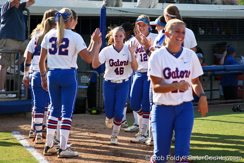 Florida junior Ellie Langley runs onto the field during introductions before the Gators' 8-0 win against the Bethune-Cookman Wildcats on Friday, May 20, 2011 at Katie Seashole Pressly Stadium in Gainesville, Fla. / photo by Rob Foldy