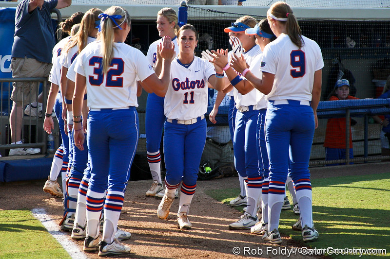 Florida sophomore Ensley Gammel runs onto the field during introductions before the Gators' 8-0 win against the Bethune-Cookman Wildcats on Friday, May 20, 2011 at Katie Seashole Pressly Stadium in Gainesville, Fla. / photo by Rob Foldy
