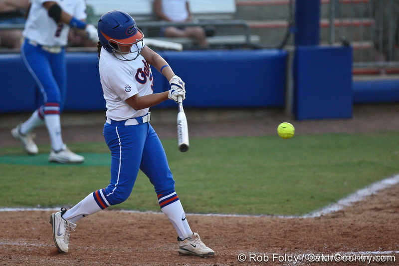 Florida senior second baseman Aja Paculba connects with the ball during the Gators' 8-0 win against the Bethune-Cookman Wildcats on Friday, May 20, 2011 at Katie Seashole Pressly Stadium in Gainesville, Fla. / photo by Rob Foldy