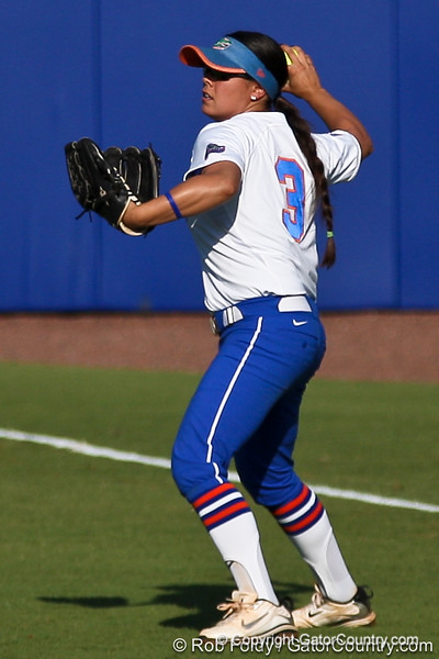 Florida senior second baseman Aja Paculba fields a fly ball during the Gators' 8-0 win against the Bethune-Cookman Wildcats on Friday, May 20, 2011 at Katie Seashole Pressly Stadium in Gainesville, Fla. / photo by Rob Foldy