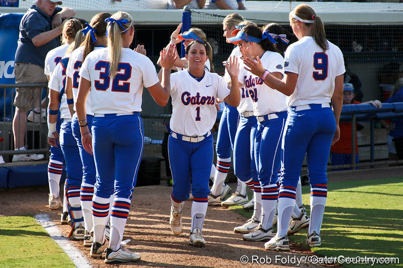 Florida junior Ashley Snedeker runs onto the field during introductions before the Gators' 8-0 win against the Bethune-Cookman Wildcats on Friday, May 20, 2011 at Katie Seashole Pressly Stadium in Gainesville, Fla. / photo by Rob Foldy