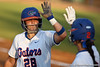 Florida senior catcher Tiffany DeFelice and teammate Kelsey Bruder high-five during the Gators' 8-0 win against the Bethune-Cookman Wildcats on Friday, May 20, 2011 at Katie Seashole Pressly Stadium in Gainesville, Fla. / photo by Rob Foldy