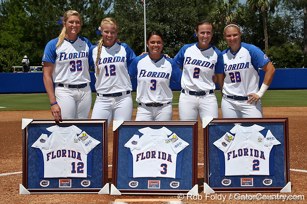 The five Florida seniors before the Gators' 7-2 victory over the Tennessee Vols on Sunday, May 8, 2011 at Katie Seashole Pressly Stadium in Gainesville, Fla. / photo by Rob Foldy