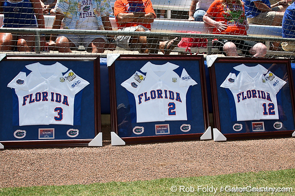 Florida seniors were presented with jerseys before the Gators' 7-2 victory over the Tennessee Vols on Sunday, May 8, 2011 at Katie Seashole Pressly Stadium in Gainesville, Fla. / photo by Rob Foldy