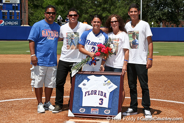 Florida senior second baseman Aja Paculba and her family are all smiles prior to the Gators' 7-2 victory over the Tennessee Vols on Sunday, May 8, 2011 at Katie Seashole Pressly Stadium in Gainesville, Fla. / photo by Rob Foldy