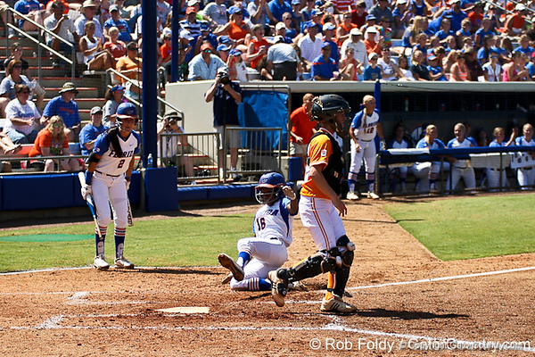 Florida junior center fielder Michelle Moultrie scores during the Gators' 7-2 victory over the Tennessee Vols on Sunday, May 8, 2011 at Katie Seashole Pressly Stadium in Gainesville, Fla. / photo by Rob Foldy