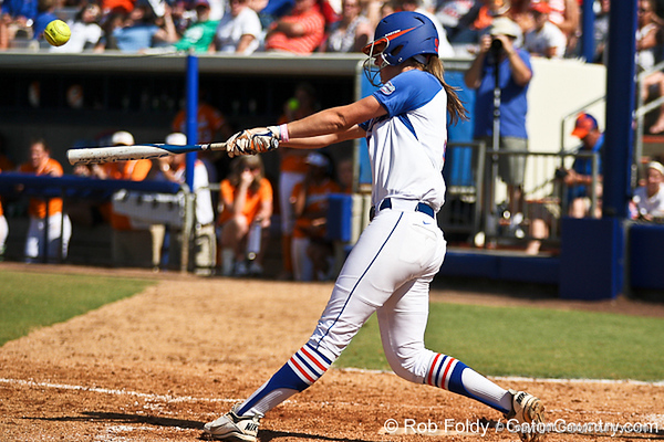 Florida freshman third baseman Kasey Fagan follows through on a swing during the Gators' 7-2 victory over the Tennessee Vols on Sunday, May 8, 2011 at Katie Seashole Pressly Stadium in Gainesville, Fla. / photo by Rob Foldy