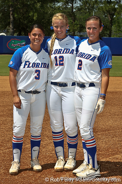 Florida seniors Aja Paculba, Megan Bush and Kelsey Bruder were honored before the Gators 7-2 victory over the Tennessee Vols on Sunday, May 8, 2011 at Katie Seashole Pressly Stadium in Gainesville, Fla. / photo by Rob Foldy