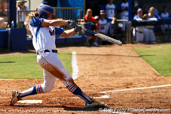 Florida sophomore Brittany Schutte follows through on a swing during the Gators 7-2 victory over the Tennessee Vols on Sunday, May 8, 2011 at Katie Seashole Pressly Stadium in Gainesville, Fla. / photo by Rob Foldy
