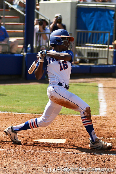 Florida junior center fielder Michelle Moultrie following through on her hit during the Gators' 7-2 victory over the Tennessee Vols on Sunday, May 8, 2011 at Katie Seashole Pressly Stadium in Gainesville, Fla. / photo by Rob Foldy