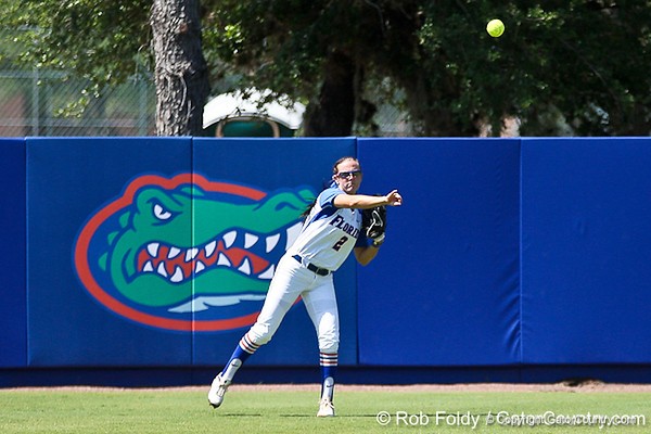Florida senior Kelsey Bruder throws the ball to the infield after making a catch during the Gators' 7-2 victory over the Tennessee Vols on Sunday, May 8, 2011 at Katie Seashole Pressly Stadium in Gainesville, Fla. / photo by Rob Foldy