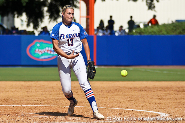 Florida freshman pitcher Hannah Rogers delivers a pitch during the Gators' 7-2 victory over the Tennessee Vols on Sunday, May 8, 2011 at Katie Seashole Pressly Stadium in Gainesville, Fla. / photo by Rob Foldy