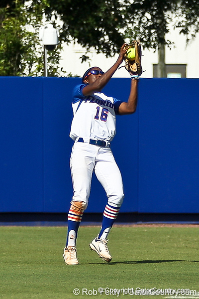 Florida junior center fielder Michelle Moultrie grabs a fly ball during the Gators' 7-2 victory over the Tennessee Vols on Sunday, May 8, 2011 at Katie Seashole Pressly Stadium in Gainesville, Fla. / photo by Rob Foldy
