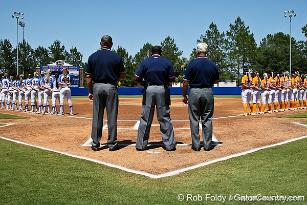The Gators and the Vols line up for the National anthem just before Florida defeated Tennessee 7-2 on Sunday, May 8, 2011 at Katie Seashole Pressly Stadium in Gainesville, Fla. / photo by Rob Foldy