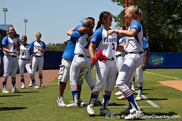 Florida senior second baseman Aja Paculba and senior pitcher Stephanie Brombacher hug before the Gators' 7-2 victory over the Tennessee Vols on Sunday, May 8, 2011 at Katie Seashole Pressly Stadium in Gainesville, Fla. / photo by Rob Foldy