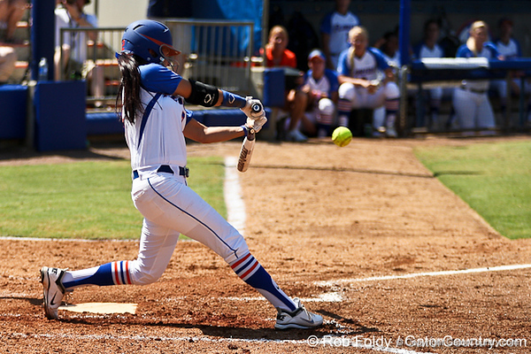 Florida senior Kelsey Bruder squares up the ball during the Gators' 7-2 victory over the Tennessee Vols on Sunday, May 8, 2011 at Katie Seashole Pressly Stadium in Gainesville, Fla. / photo by Rob Foldy