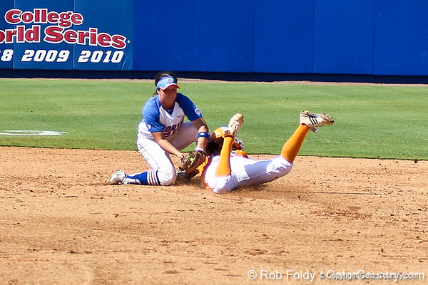 Florida freshman shortstop Cheyenne Coyle extinguishes the Vols' stolen base attempt during the Gators' 7-2 victory over the Tennessee Vols on Sunday, May 8, 2011 at Katie Seashole Pressly Stadium in Gainesville, Fla. / photo by Rob Foldy