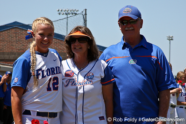 Florida senior first baseman Megan Bush poses for a photo with her parents before the Gators' 7-2 victory over the Tennessee Vols on Sunday, May 8, 2011 at Katie Seashole Pressly Stadium in Gainesville, Fla. / photo by Rob Foldy