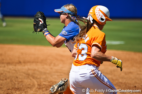Florida senior first baseman Megan Bush records an out during the Gators 7-2 victory over the Tennessee Vols on Sunday, May 8, 2011 at Katie Seashole Pressly Stadium in Gainesville, Fla. / photo by Rob Foldy