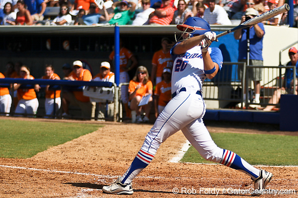 Florida sophomore Kelsey Horton follows through on a swing during the Gators' 7-2 victory over the Tennessee Vols on Sunday, May 8, 2011 at Katie Seashole Pressly Stadium in Gainesville, Fla. / photo by Rob Foldy