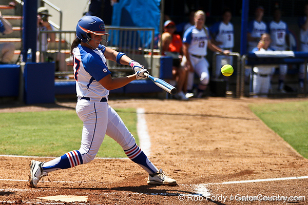 Florida freshman shortstop Cheyenne Coyle connects with the ball during the Gators' 7-2 victory over the Tennessee Vols on Sunday, May 8, 2011 at Katie Seashole Pressly Stadium in Gainesville, Fla. / photo by Rob Foldy