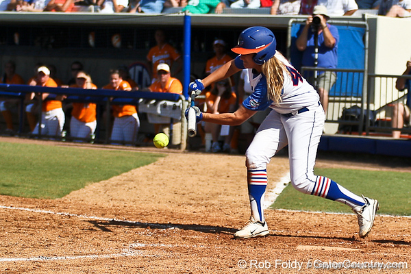 Florida sophomore Brittany Schutte lays down a bunt during the Gators' 7-2 victory over the Tennessee Vols on Sunday, May 8, 2011 at Katie Seashole Pressly Stadium in Gainesville, Fla. / photo by Rob Foldy