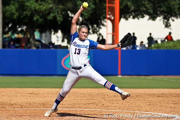 Florida freshman pitcher Hannah Rogers winds up during the Gators' 7-2 victory over the Tennessee Vols on Sunday, May 8, 2011 at Katie Seashole Pressly Stadium in Gainesville, Fla. / photo by Rob Foldy