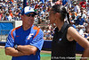 Florida head coach Tim Walton talks with senior associate athletics director Linda Tealer before the Gators' 7-2 victory over the Tennessee Vols on Sunday, May 8, 2011 at Katie Seashole Pressly Stadium in Gainesville, Fla. / photo by Rob Foldy