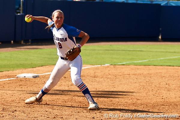 Florida freshman third baseman Kasey Fagan throws out the Tennessee runner during the Gators' 7-2 victory over the Vols on Sunday, May 8, 2011 at Katie Seashole Pressly Stadium in Gainesville, Fla. / photo by Rob Foldy