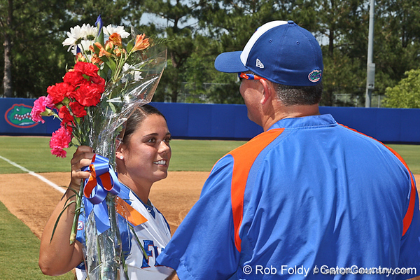 Florida senior second baseman Aja Paculba hugs head coach Tim Walton during senior day celebrations prior to the Gators' 7-2 victory over the Tennessee Vols on Sunday, May 8, 2011 at Katie Seashole Pressly Stadium in Gainesville, Fla. / photo by Rob Foldy
