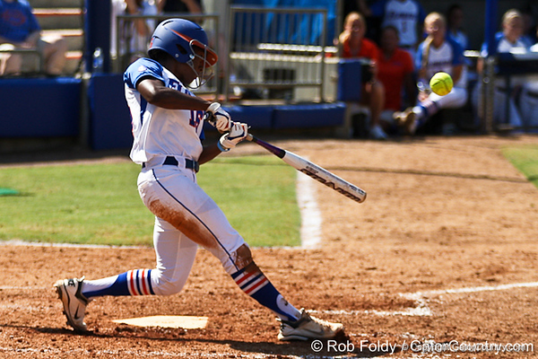 Florida junior center fielder Michelle Moultrie hits the ball during the Gators' 7-2 victory over the Tennessee Vols on Sunday, May 8, 2011 at Katie Seashole Pressly Stadium in Gainesville, Fla. / photo by Rob Foldy