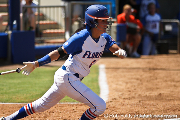Florida senior Kelsey Bruder follows through on a swing during the Gators' 7-2 victory over the Tennessee Vols on Sunday, May 8, 2011 at Katie Seashole Pressly Stadium in Gainesville, Fla. / photo by Rob Foldy