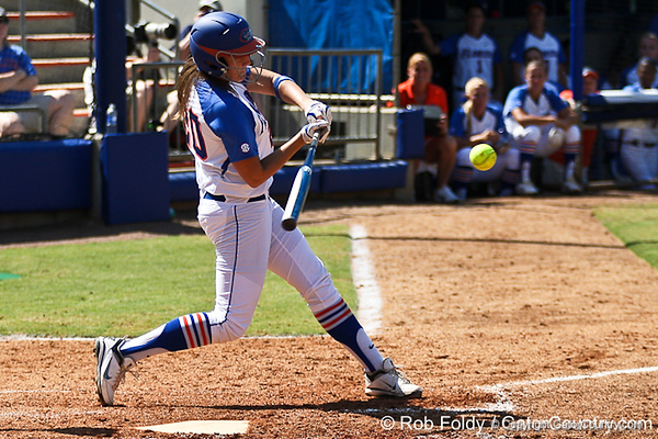 Florida sophomore Kelsey Horton hits one out of the park during the 5th inning of the Gators' 7-2 victory over the Tennessee Vols on Sunday, May 8, 2011 at Katie Seashole Pressly Stadium in Gainesville, Fla. / photo by Rob Foldy