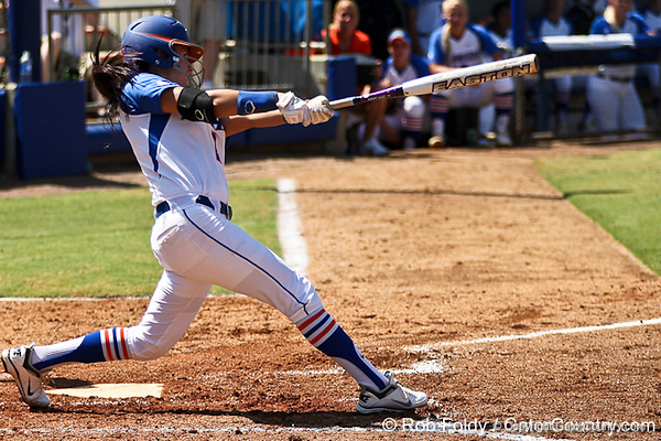 Florida senior Kelsey Bruder follows through on a swing during the Gators 7-2 victory over the Tennessee Vols on Sunday, May 8, 2011 at Katie Seashole Pressly Stadium in Gainesville, Fla. / photo by Rob Foldy