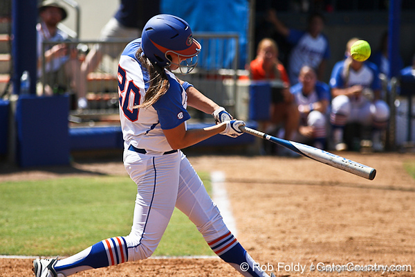 Florida sophomore Kelsey Horton hits a fly ball during the Gators 7-2 victory over the Tennessee Vols on Sunday, May 8, 2011 at Katie Seashole Pressly Stadium in Gainesville, Fla. / photo by Rob Foldy