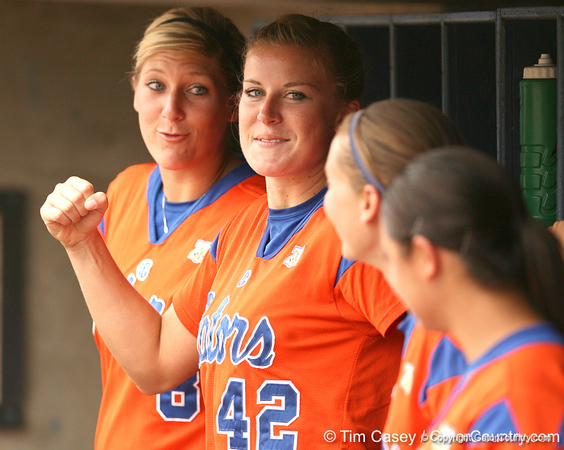 080419_PriebeKristineNelsonStacey_0762_TCasey<br /> <br /> photo by Tim Casey<br /> <br /> during the no. 3-ranked Florida Gators' sweep of a doubleheader against the Kentucky Wildcats on Saturday, April 19, 2008 at Katie Seashole Pressly Softball Stadium in Gainesville, Fla. UF improved to 50-2 on the season.