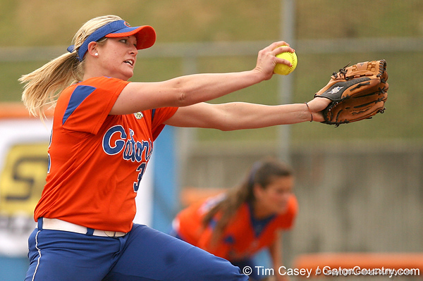 080419_BrombacherStephanie_0652_TCasey<br /> <br /> photo by Tim Casey<br /> <br /> during the no. 3-ranked Florida Gators' sweep of a doubleheader against the Kentucky Wildcats on Saturday, April 19, 2008 at Katie Seashole Pressly Softball Stadium in Gainesville, Fla. UF improved to 50-2 on the season.