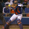 photo by Tim Casey<br /> <br /> Florida senior catcher Kristina Hilberth throws to second base during the ninth inning of the Gators' 4-3 win in nine innings against the Florida State Seminoles on Wednesday, April 8, 2009 at Katie Seashole Pressly Softball Stadium in Gainesville, Fla.