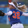 photo by Tim Casey<br /> <br /> Florida sophomore pitcher Stephanie Brombacher winds up during the seventh inning of the Gators' 4-3 win in nine innings against the Florida State Seminoles on Wednesday, April 8, 2009 at Katie Seashole Pressly Softball Stadium in Gainesville, Fla.