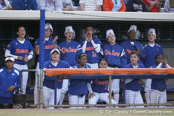 photo by Tim Casey<br /> <br /> Florida players cheer during the seventh inning of the Gators' 4-3 win in nine innings against the Florida State Seminoles on Wednesday, April 8, 2009 at Katie Seashole Pressly Softball Stadium in Gainesville, Fla.
