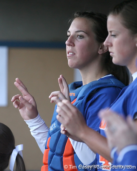 photo by Tim Casey<br /> <br /> Florida senior catcher Kristina Hilberth cheers during the sixth inning of the Gators' 4-3 win in nine innings against the Florida State Seminoles on Wednesday, April 8, 2009 at Katie Seashole Pressly Softball Stadium in Gainesville, Fla.