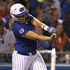 photo by Tim Casey<br /> <br /> Florida sophomore Tiffany DeFelice fouls off a pitch during the eighth inning of the Gators' 4-3 win in nine innings against the Florida State Seminoles on Wednesday, April 8, 2009 at Katie Seashole Pressly Softball Stadium in Gainesville, Fla.