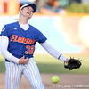 photo by Tim Casey<br /> <br /> Florida sophomore pitcher Stephanie Brombacher throws a pitch during the fifth inning of the Gators' 4-3 win in nine innings against the Florida State Seminoles on Wednesday, April 8, 2009 at Katie Seashole Pressly Softball Stadium in Gainesville, Fla.