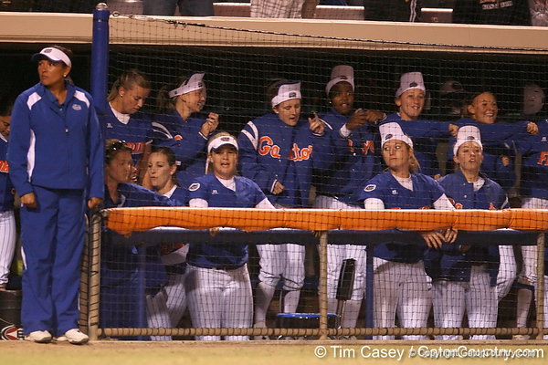 photo by Tim Casey<br /> <br /> Florida players dance in the dugout during the ninth inning of the Gators' 4-3 win in nine innings against the Florida State Seminoles on Wednesday, April 8, 2009 at Katie Seashole Pressly Softball Stadium in Gainesville, Fla.