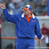 photo by Tim Casey<br /> <br /> Florida head coach Tim Walton signals to the outfield during the sixth inning of the Gators' 4-3 win in nine innings against the Florida State Seminoles on Wednesday, April 8, 2009 at Katie Seashole Pressly Softball Stadium in Gainesville, Fla.