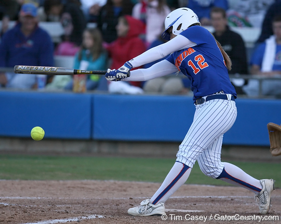 photo by Tim Casey<br /> <br /> Florida sophomore shortstop Megan Bush bats during the fifth inning of the Gators' 4-3 win in nine innings against the Florida State Seminoles on Wednesday, April 8, 2009 at Katie Seashole Pressly Softball Stadium in Gainesville, Fla.